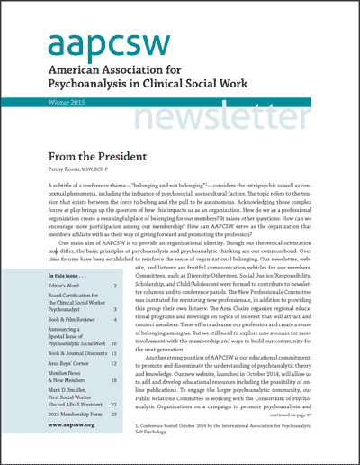 Cover image: AAPCSW Newsletter